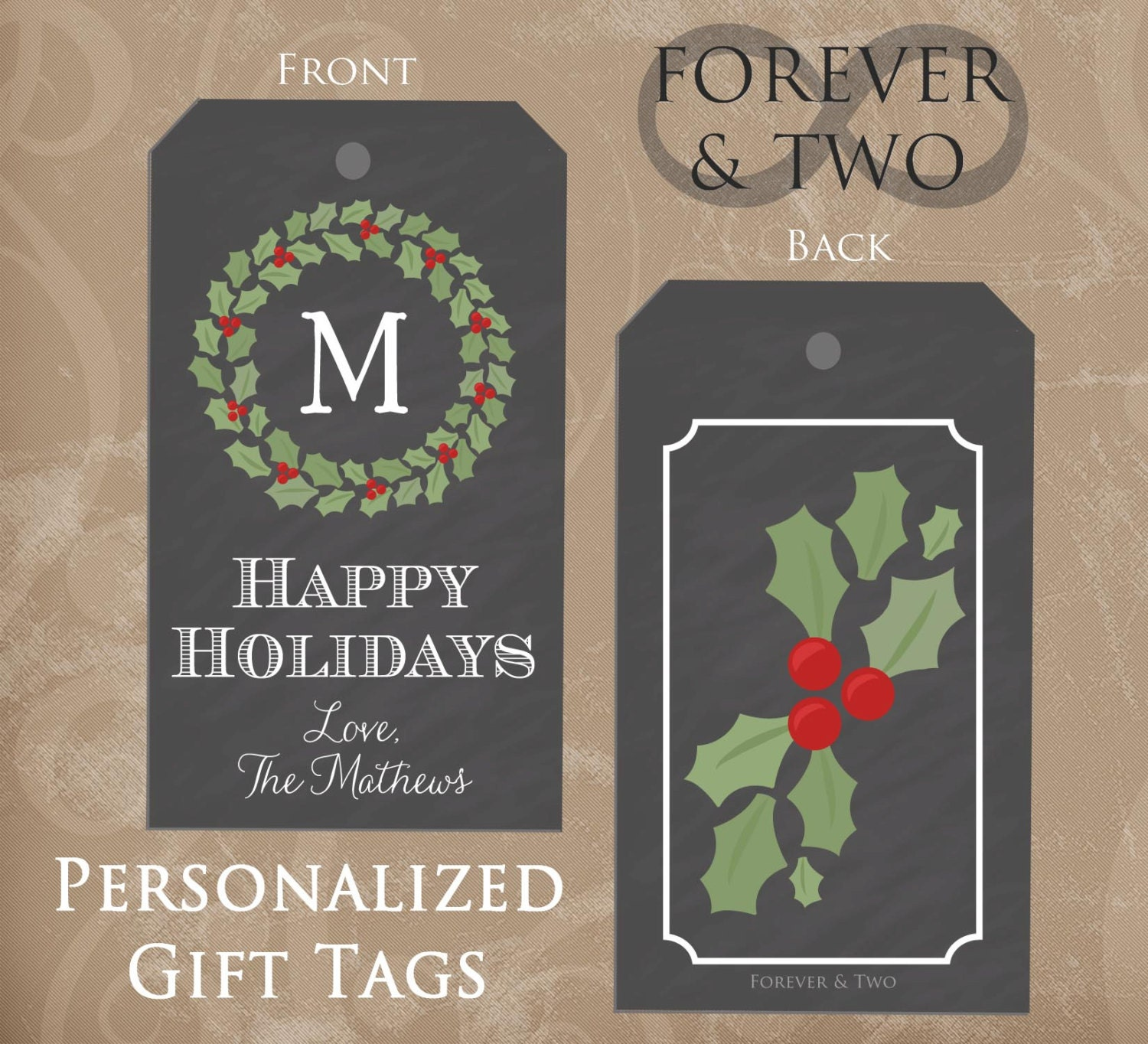 Personalized Gift Tags Christmas gift tags by ForeverAndTwo
