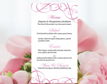 Popular Items For Pink Menu Card On Etsy