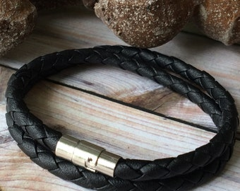 Black Braided Double Wrap Leather Bracelet with Push Pin Clasp,Leather Bangle,Silver Clasp and Black Leather, Men's Leather Bracelet, Unisex