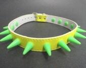 Choker Collar Yellow & Green Rubber Spikes PVC Choker