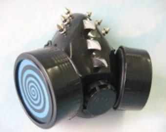 Blue Spiral & Spikes Respirator cyber goth mask