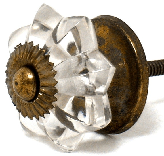 Kitchen Cabinet Pulls Glass Dresser Knobs Or Antique: Items Similar To 12 Clear Melon Glass Cabinet Knobs