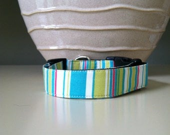 Dog Collar- Bright Nautical Stripes