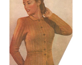 1940s Knitting Pattern for Womens Fitted Cardigan Jacket - Digital PDF