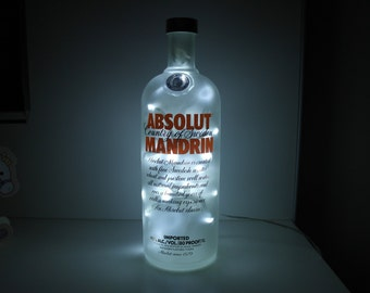 Upcycled Modern Cool Absolut Mandrin Vodka Bottle Lamp - Rare 1L - by iluvlamp
