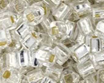 3mm Cube Seed Beads TOHO Silver-Lined Crystal #21  (8 Grams)  (G-1C)