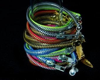 Zipper Bracelet with Charm