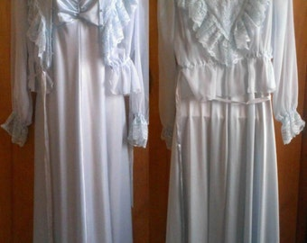 PRICE REDUCED Prom Dress!! 1970's Polyester Light Blue/Silver Montgomery Ward Gunne Sax Style Formal