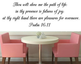Psalm 16:11 Bible Verse Wall Decal, Bible Wall Art, Scripture Wall Decal