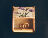 """OOAK Rustic style wedding ring bearer box with botanical picture """"Wild Flowers VII"""" - wedding decor, rustic style, botanical, engagement box"""