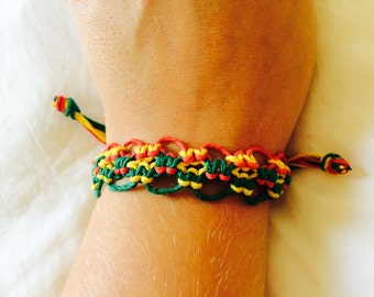 Cuff Rasta Hemp Bracelet, Adjustable