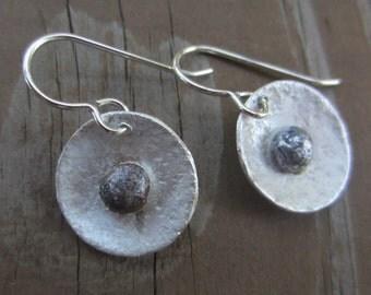 SALE!  Silver Disc Earrings, Artisan Silver Flower Earrings, Silver Pebble Earrings, Hammered Silver Earrings
