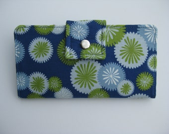 Womens Wallet, Handmade Wallet Clutch in Blue, Green and Gray