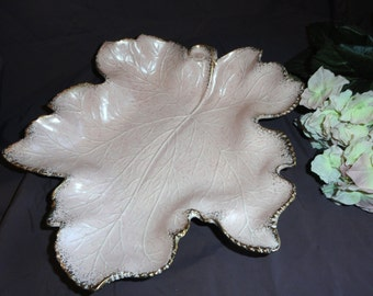 Large Vintage PINK LEAF DISH California Originals 719
