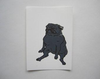 Black Pug Linocut Print