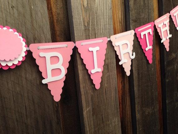 Pink Ombre Birthday Banner, Happy 1st Birthday
