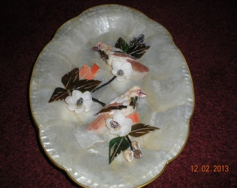 Wonderful Mother of Pearl Shell Wall Hanging With Floral and Birds Hand Crafted New in Original Wrapping