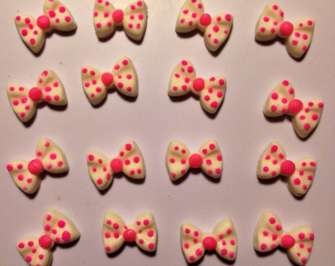 One Dz. Fondant White Pink Polka Dot Bows