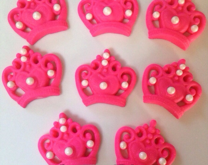 Hot Pink Fondant Crowns