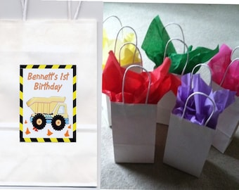 Construction party favor goody bags personalized set of 10