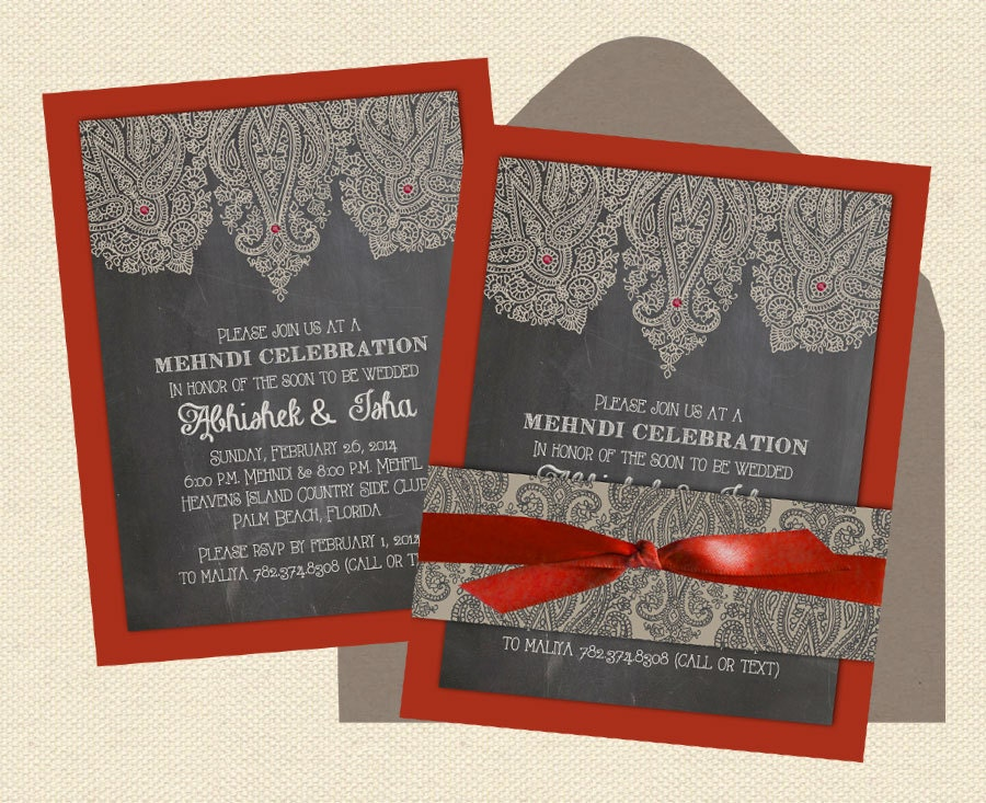 Indian Wedding Invitations Intricate Henna Layered