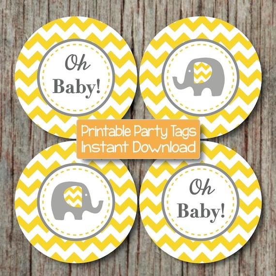 yellow grey chevron baby shower decorations printable party supplies