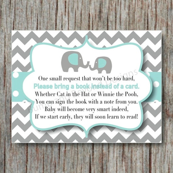Elephant Book Instead of Card Request Insert INSTANT DOWNLOAD