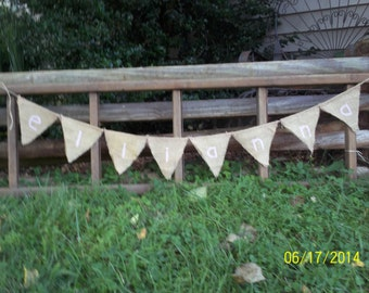 Natural Burlap Banner LETTERS use with lemonade stands,  weddings, recptions, and  birthdays etc. custom letters