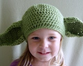 Crochet Star Wars Yoda Hat- Baby, Child & Adult Sizes- Made to Order