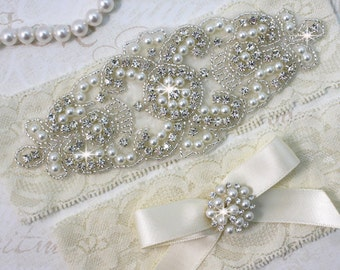 SALE - ALANA II - Stretch Lace Garter, Pearl Wedding Garter Set, Rhinestone Crystal Bridal Garters, Keepsake Garter