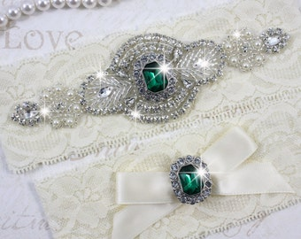 SALE - PRISCILLA - Emerald Garter Set, Wedding Stretch Lace Garter, Rhinestone Crystal Bridal Garters