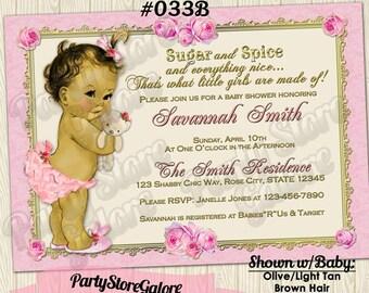 Vintage Baby Girl Shower Invitations / shabby chic teddy bear girls PINK DAMASK roses floral retro victorian Custom Digital Invitation #033B