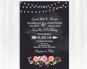 Chalkboard Peony Wedding Invitation DIY PRINTABLE Digital File or Print (extra) Chalkboard Wedding Invitation String Lights Invitation