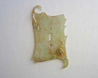 SALE Rose Switch plate, Single, Celadon and Gold