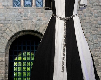 FREE SHIP Medieval Renaissance SCA Garb Linen Bl Costume Gown Authentic Black White Particolored 1pc lxl