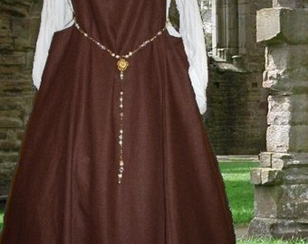 FREE SHIP SCA Garb Medieval Gown Renaissance Costume Chocolate Linen Sideless Surcote Overgown lxl