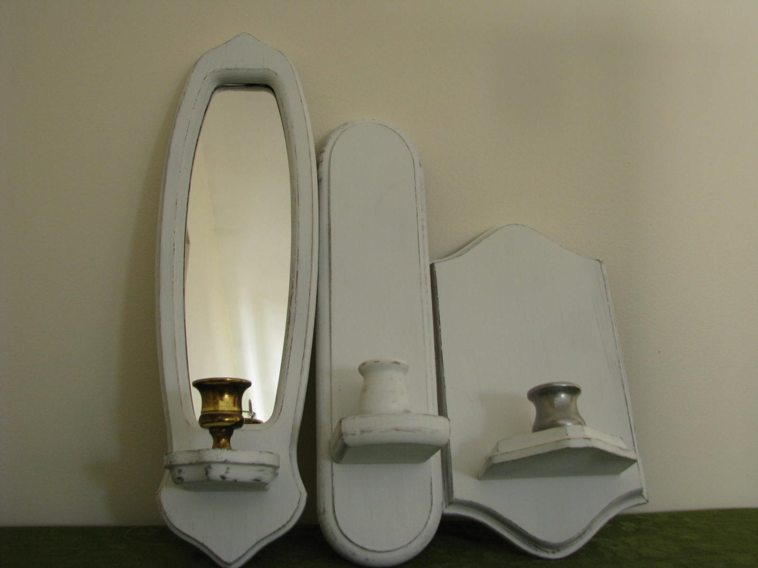 Wood Candle Sconces Candle Holders Set of 3 White by PassItOn2013