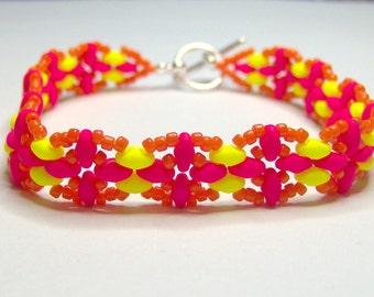 Neon bracelet, superduo bracelet, super duo bracelet, psychedelic bracelet, luminous bracelet, beadwork bracelet, summer bracelet