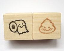 Poo and toilet paper ruber stamps, Poo rubber stamp, Toilet training, Funny gift stamps, Kawaii stationery, Gift idea kawaii, Toy for kids