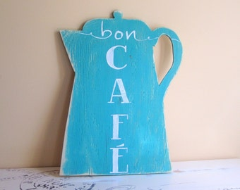 Coffee Station Sign - Turquoise Kitchen - Bon Cafe - French Theme - Teal Accent Color - Housewarming Gift Home Decor