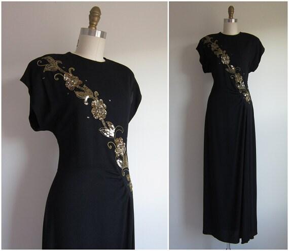 1940s Party Dress Vintage 1940s Formal Dress Black Crepe