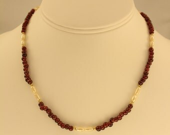 Garnet And Fresh Water Pearl Necklace