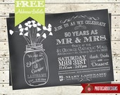 Chalkboard Anniversary Wedding Invitation| typography | Mason Jar | Bridal | Shower | Digital | Print file | invite | Shower Invitation