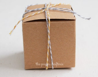 20 x Kraft Favour Boxes Square Cardboard Party Wedding