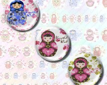 Digital collage sheet, digitals images Russian dolls, Matriochka, 1 in circle,craft supplies and tools, digital download cabochon,