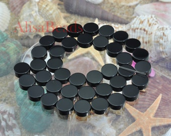 Black Onyx,flat coin,12mm,beads,15 inches