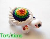 White and Rainbow Turtle Figurine