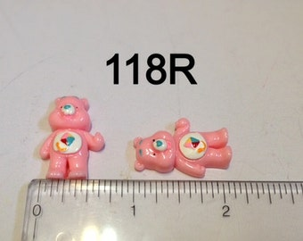 2/3/5 Pink Bear Full Body #118R Resin Flat back Cabochon Hair Bow Center