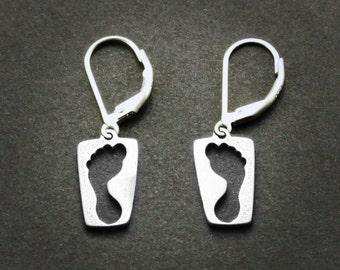 Sterling Footprint Earrings
