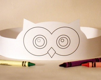 Owl Paper Crown COLOR YOUR OWN - Printable